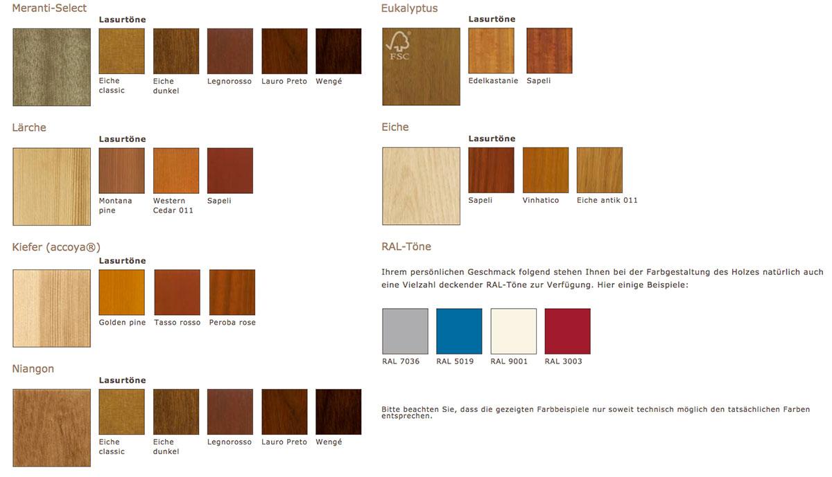 Niveau Holzfenster Farben