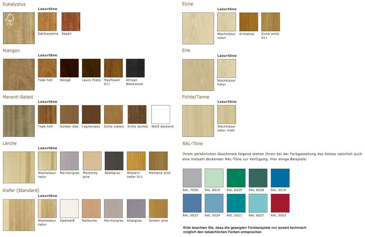 Niveau Holz-Alu-Fenster Farben